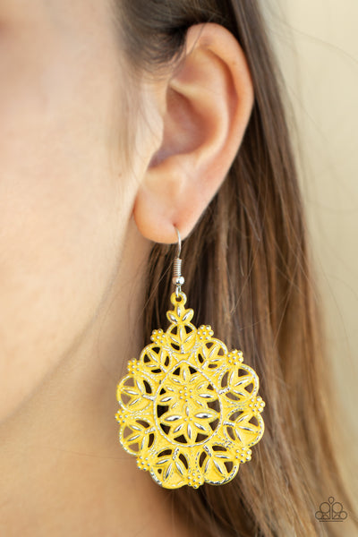 Paparazzi Floral Affair - Yellow Earrings - A Finishing Touch
