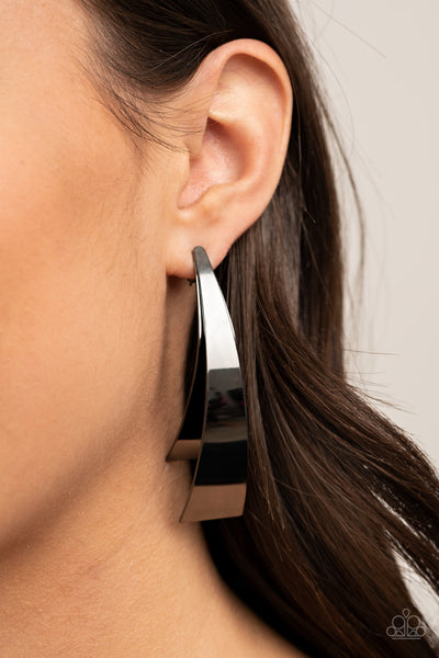 Paparazzi Underestimated Edge Silver Earrings - December 2020 Life Of The Party Exclusive