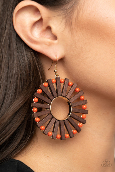 Paparazzi Solar Flare - Orange Earrings - A Finishing Touch