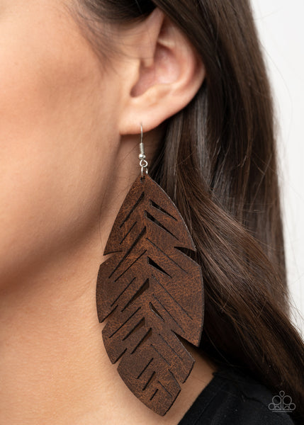 Paparazzi I Want To Fly - Brown Leather Earrings