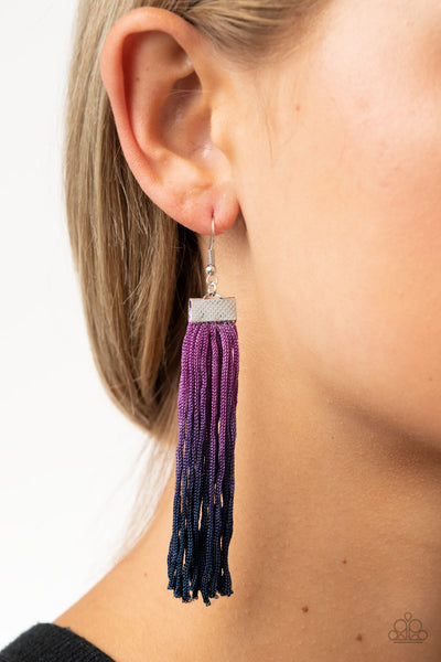 Paparazzi Dual Immersion - Purple Fringe Earrings - A Finishing Touch