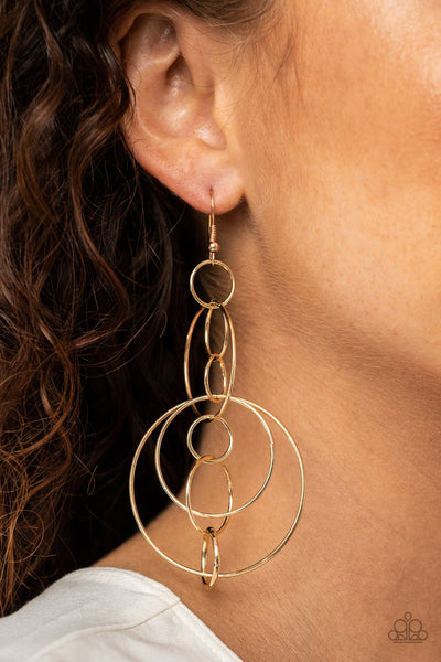 Paparazzi Running Circles Around You - Gold Hoop Earrings