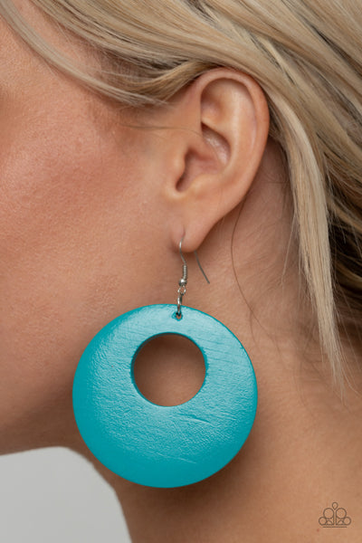 Paparazzi Island Hop - Blue Wooden Earrings - A Finishing Touch Jewelry