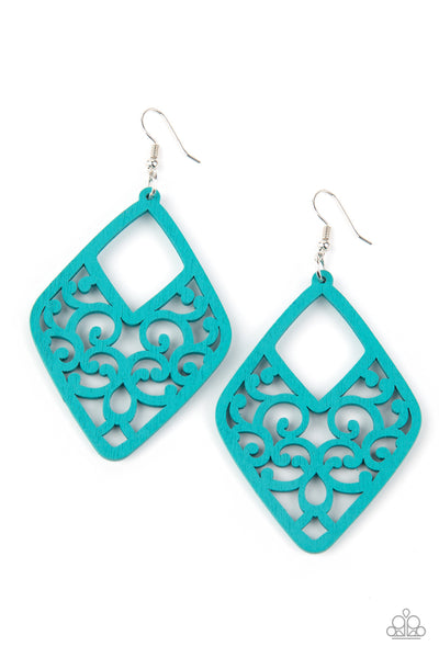 Paparazzi VINE For The Taking - Blue Wooden Earrings