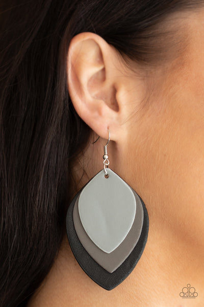 Paparazzi Light as a LEATHER - Black Earrings - A Finishing Touch Jewelry