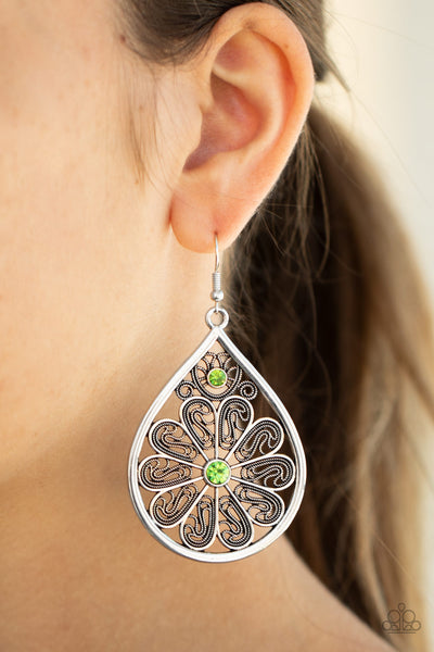Paparazzi   Whimsy Dreams - Green Earrings - A Finishing Touch
