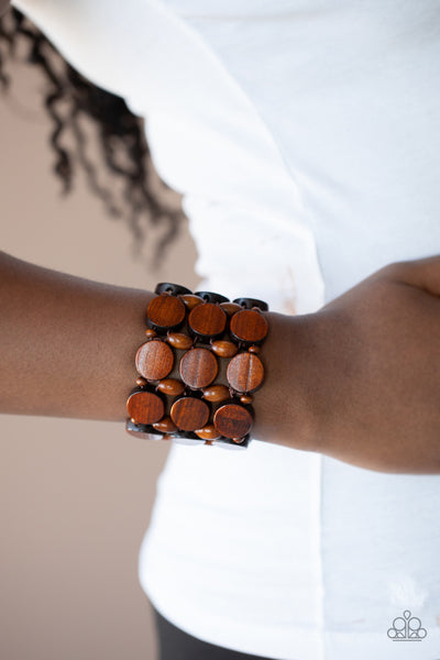 Paparazzi: Cruising Coronado - Brown Wooden Bracelet