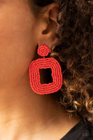 Paparazzi Beaded Bella - Red Earrings - A Finishing Touch