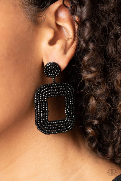 Paparazzi Beaded Bella - Black Earrings