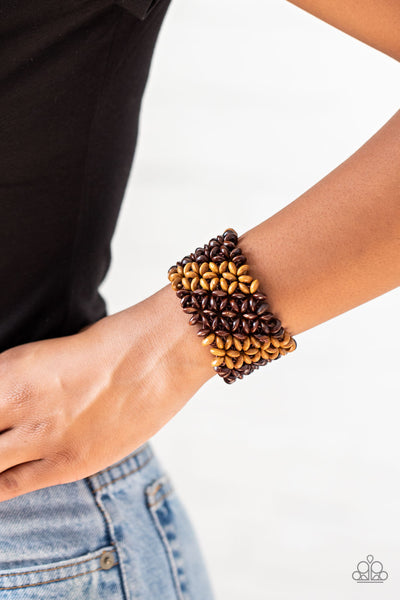 Paparazzi Island Expression - Brown Wooden Bracelet - A Finishing Touch