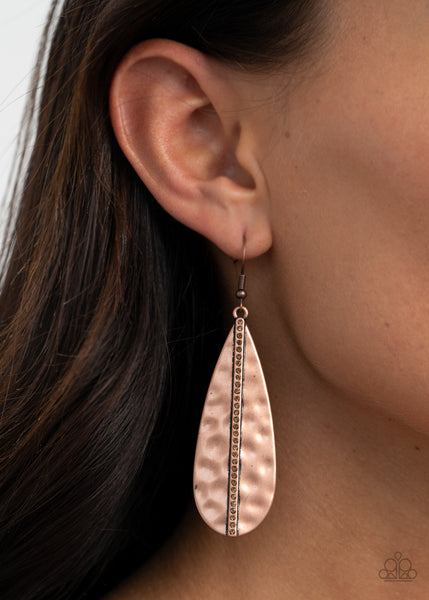 Paparazzi On The Up and UPSCALE - Copper Earrings - A Finishing Touch
