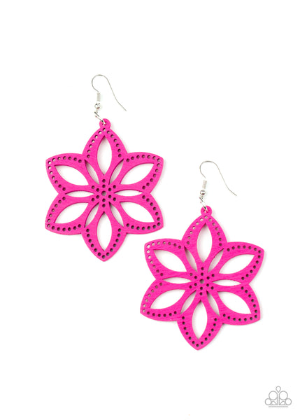 Paparazzi Bahama Blossoms - Pink Earrings - A Finishing Touch