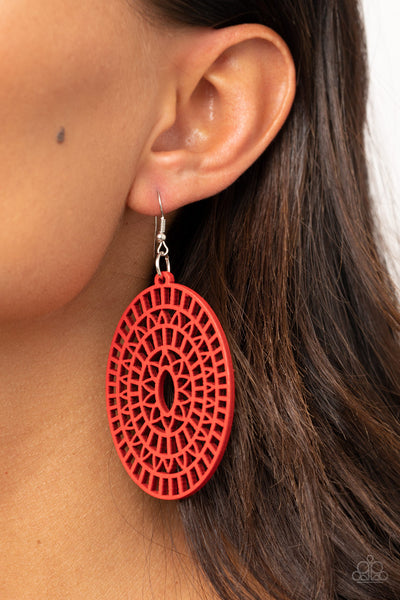 Paparazzi Tropical Retreat - Red Wooden Earrings - A Finishing Touch