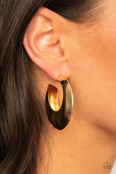 Paparazzi Chic CRESCENTO - Gold Hollowed Out Hoop Earrings - A Finishing Touch