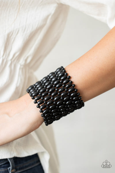 Paparazzi Way Down In Kokomo - Black Wooden Beads Bracelet - A Finishing Touch