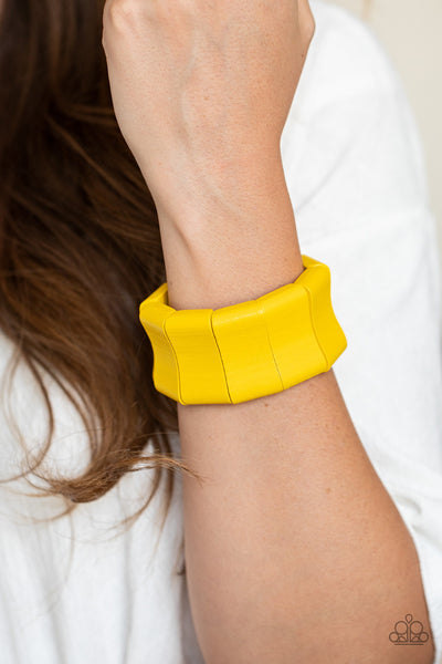 Paparazzi Caribbean Couture - Yellow Wooden Bracelet - A Finishing Touch