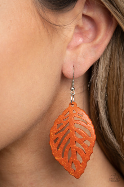 Paparazzi LEAF Em Hanging - Orange Earrings - A Finishing Touch Jewelry