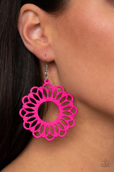 Paparazzi Dominican Daisy - Pink Wooden Peacock Earrings - A Finishing Touch
