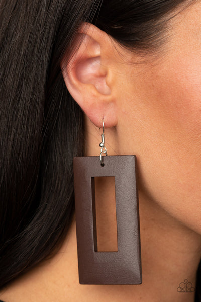 Paparazzi Totally Framed - Brown Wooden Earrings - A Finishing Touch Jewelry