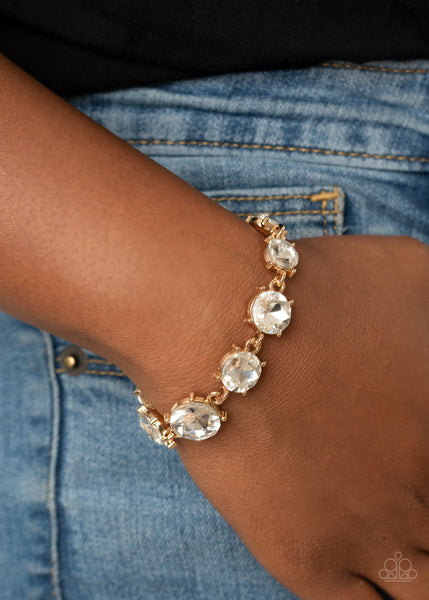Paparazzi   Cant Believe My ICE - Gold Bracelet - A Finishing Touch Jewelry
