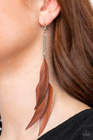 Paparazzi West Side Western - Brown Earrings - A Finishing Touch