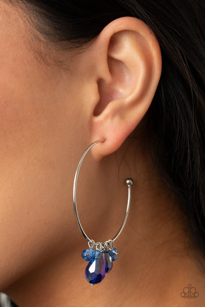 Paparazzi Dazzling Downpour - Blue Iridescent Earrings