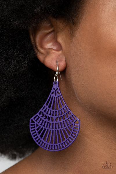 Paparazzi Tropical Tempest - Purple Wooden Earrings - A Finishing Touch