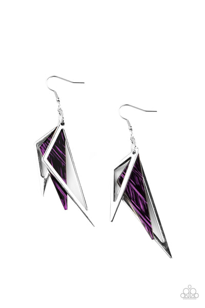 Paparazzi Evolutionary Edge - Purple Acrylic Earrings - A Finishing Touch