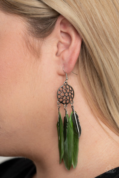 Paparazzi In Your Wildest DREAM-CATCHERS - Green Earrings - A Finishing Touch Jewelry