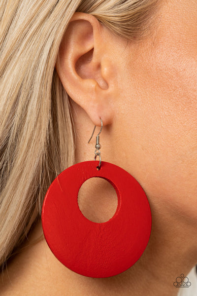 Paparazzi Island Hop - Red Wooden Earrings - A Finishing Touch