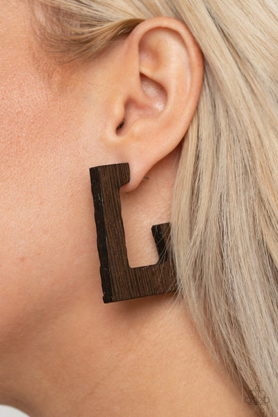 Paparazzi The Girl Next OUTDOOR - Brown Wooden Earrings - A Finishing Touch Jewelry