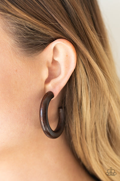 Paparazzi Woodsy Wonder - Brown Wooden Earrings - A Finishing Touch Jewelry