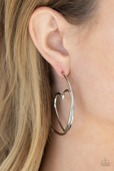 Paparazzi Love At First BRIGHT - Silver Earrings