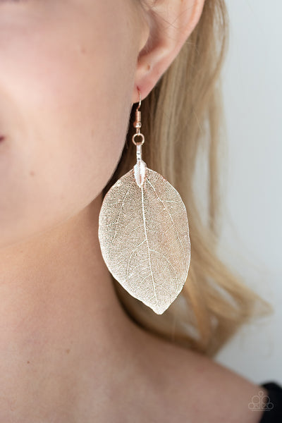 Paparazzi  Leafy Legacy - Rose Gold Earrings