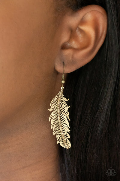 Paparazzi   Fearless Flock - Brass Earrings - A Finishing Touch Jewelry