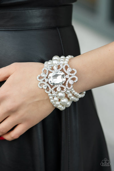 Paparazzi Rule The Room - White Bracelet - A Finishing Touch Jewelry