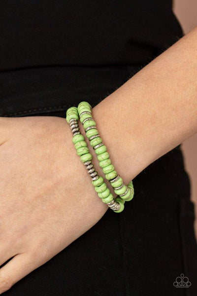 Paparazzi Desert Rainbow - Green Bracelet - A Finishing Touch Jewelry