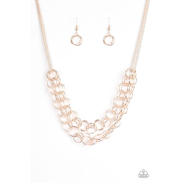 Paparazzi Circus Tent Tango Rose Gold Necklace A Finishing Touch Jewelry