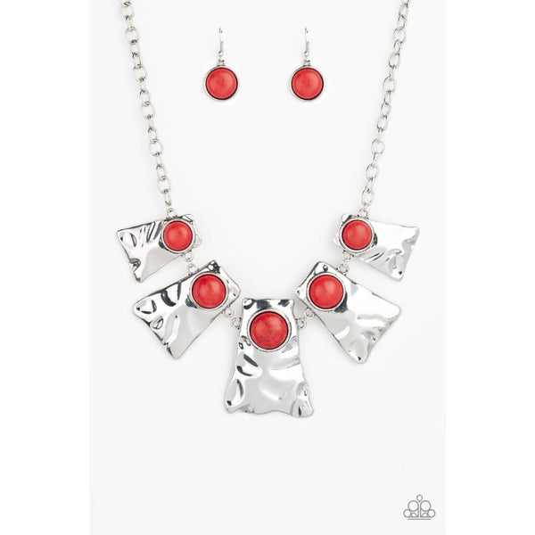 Paparazzi Cougar - Red Necklace - A Finishing Touch