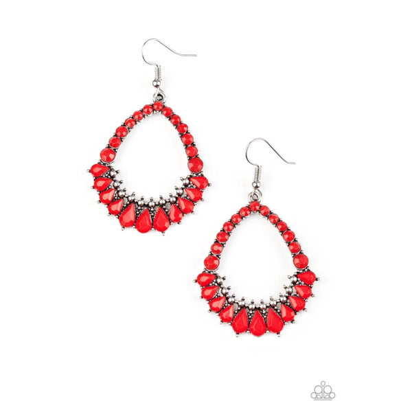 Paparazzi Crystal Waters - Red Earrings - A Finishing Touch