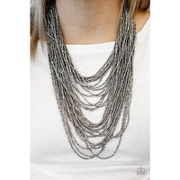 Paparazzi Dauntless Dazzle - Black/Gunmetal Necklace - A Finishing Touch