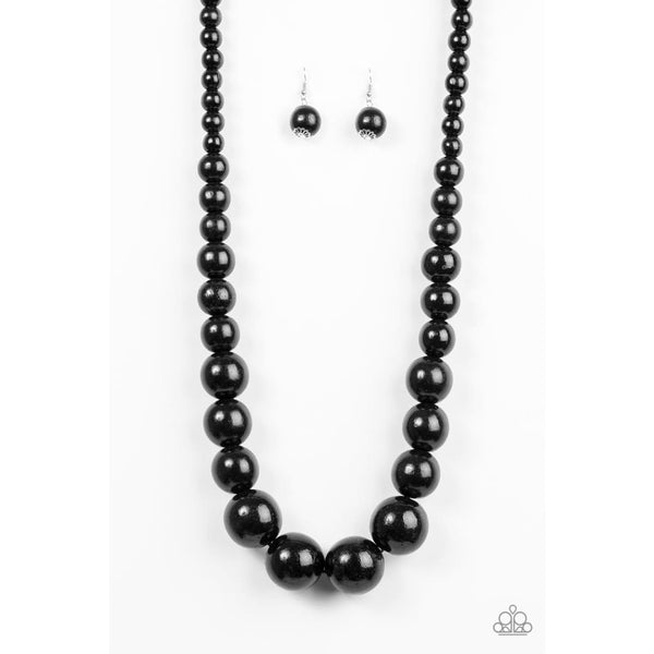 Paparazzi Effortlessly Everglades - Black Wood Necklace - A Finishing Touch