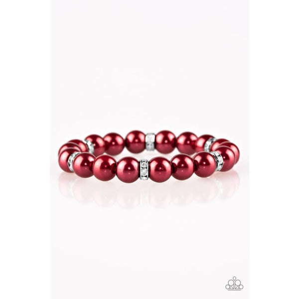 Paparazzi Exquisitely Elite - Red Rhinestone Bracelet - A Finishing Touch