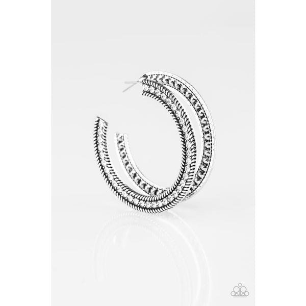 Paparazzi HAUTE Mama - White Hoop Earrings - A Finishing Touch