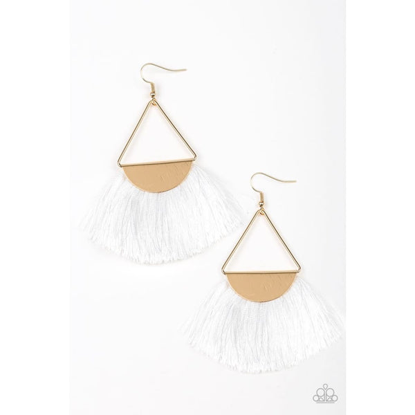 Paparazzi Modern Mayan - White Fringe Earrings - A Finishing Touch