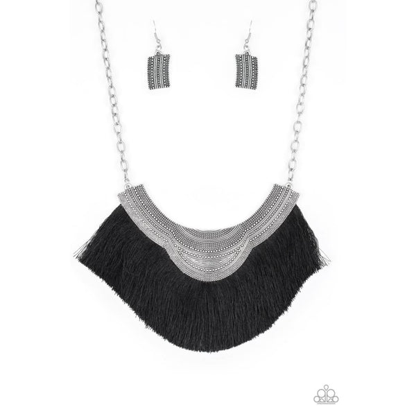 Paparazzi My PHARAOH Lady - Black Fringe Necklace - A Finishing Touch