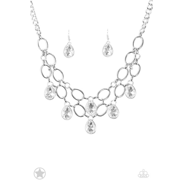 Paparazzi Show-Stopping Shimmer - White - Necklace