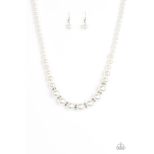 Paparazzi Showtime Shimmer - White Necklace - A Finishing Touch