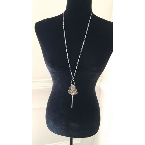 Paparazzi Silver Flower and Heart Charm Necklace With Tassel - A Finishing Touch