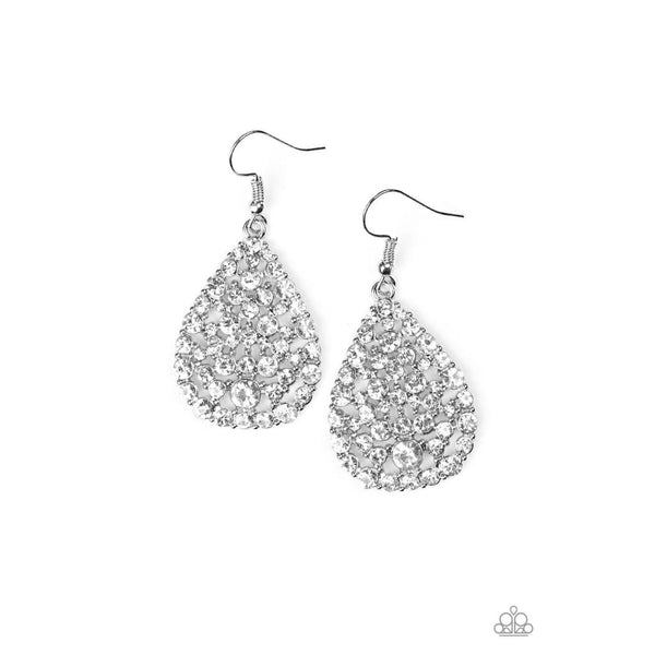 Paparazzi Sparkle Brighter - White Earrings - A Finishing Touch